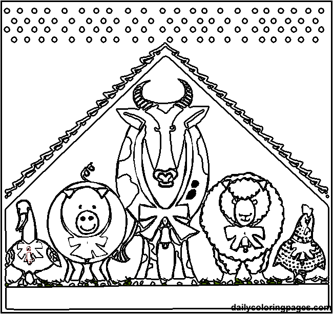650x612 Manger Animals Coloring Pages