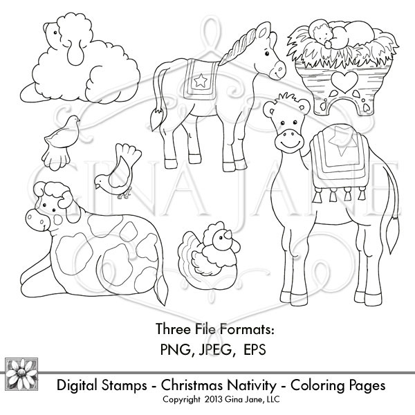 600x600 Nativity Animals Coloring Pages Free