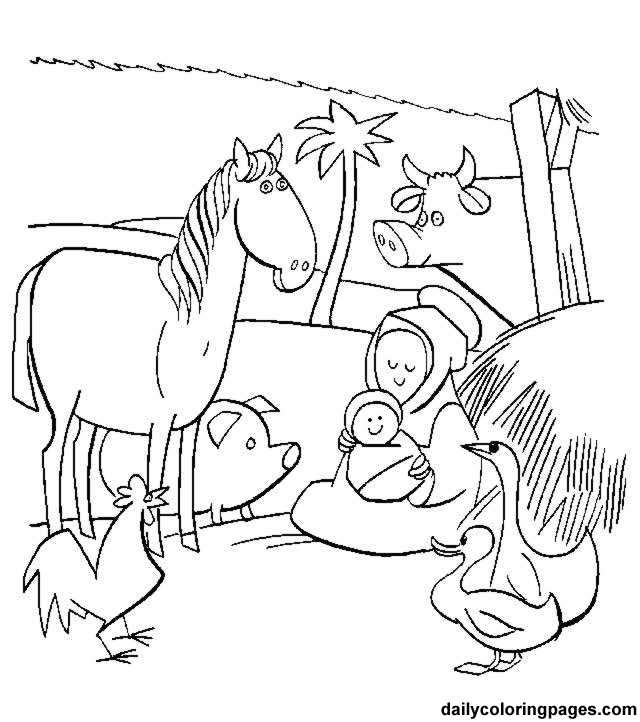 640x722 Nativity Scene Coloring Page Coloring Page For Kids Kids Coloring