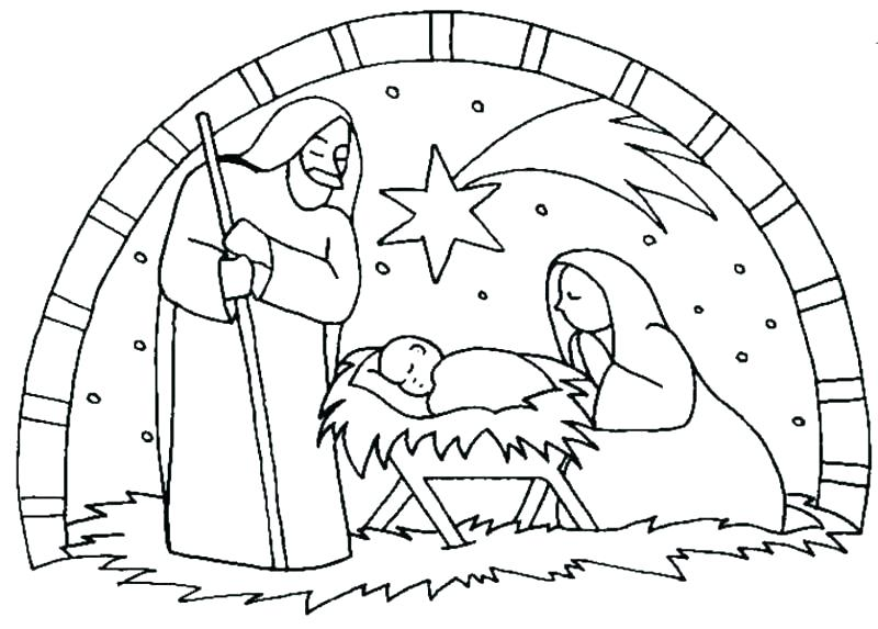 800x573 Nativity Scene Coloring Pages Nativity Coloring Page Coloring