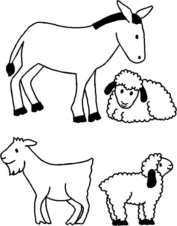 586x750 Nativity Animals Coloring Pages Nativity Animals For Paper Doll