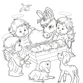 268x268 Coloring Pages Nativity Animals Archives