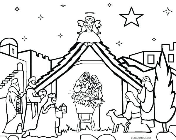 600x480 Coloring Pages Of Nativity Characters Printable Scene For Kids