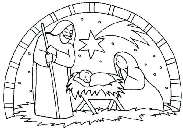 600x430 Nativity Scene Coloring Pages Printable Nativity Scene Coloring