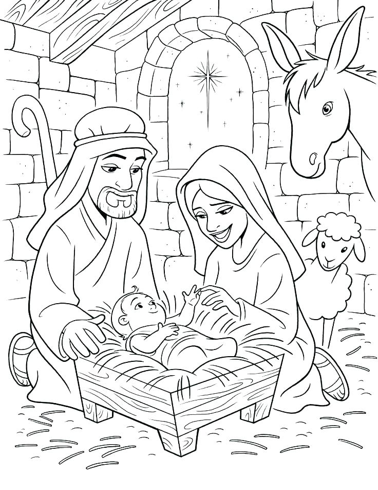 736x952 Nativity Scene Coloring Pages With The Birth Of Pdf