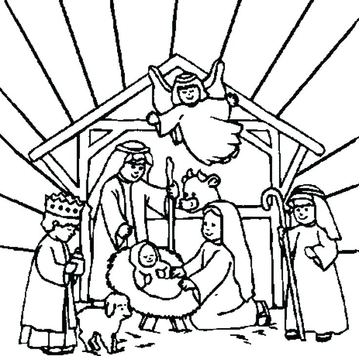 736x731 Christmas Nativity Coloring Pages Printable Able Able Printable