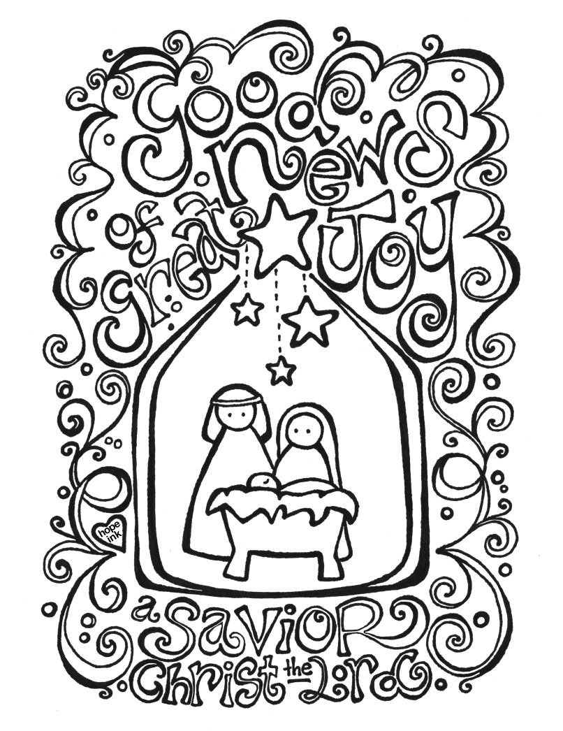 806x1046 Free Nativity Coloring Page