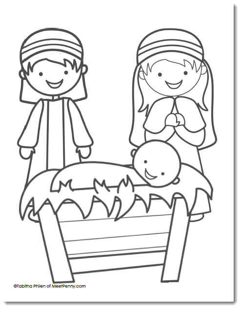 494x634 Free Nativity Coloring Page