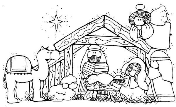 600x366 Jesus Nativity In Cartoon Depiction Coloring Page Color Luna