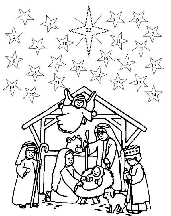 600x755 Nativity Fast Advent Coloring Pages Batch Coloring