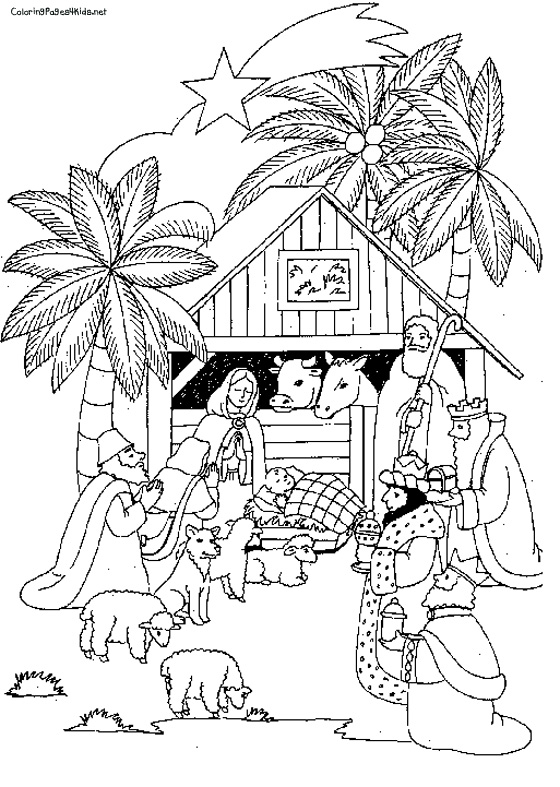 560x787 Nativity Scene Coloring Page