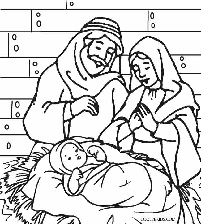 650x724 Printable Nativity Scene Coloring Pages For Kids