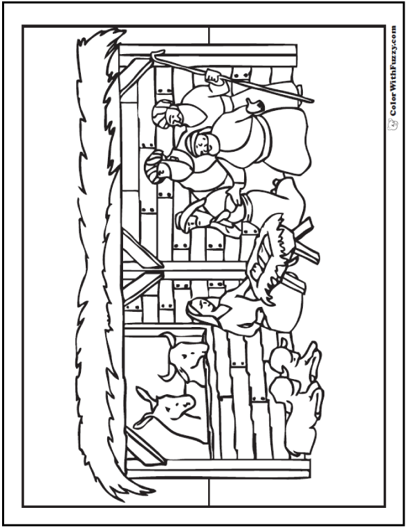 590x762 Christmas Nativity Coloring Page Stable Scene