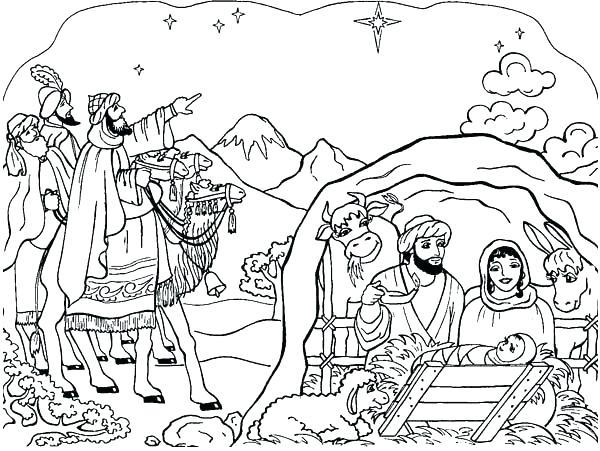 600x451 Nativity Color Page Nativity Colouring Pages For Adults Scene