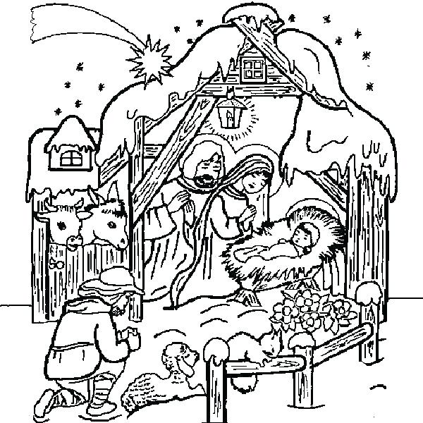 600x600 Nativity Coloring Pages Nativity Coloring Online Page Nativity