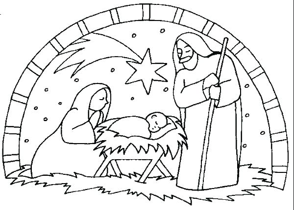 600x430 Nativity Scene Coloring Pages Nativity Scene Coloring Page