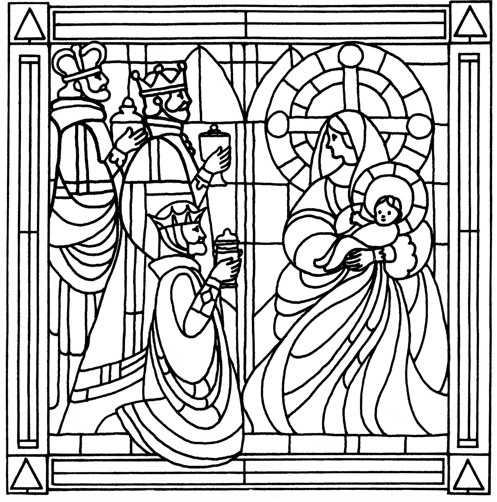 1586x1600 Stained Glass Christmas Coloring Pages