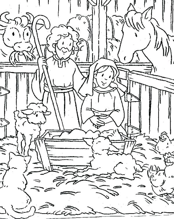 600x757 Christmas Nativity Coloring Pages For Adults Scene Of Nativity