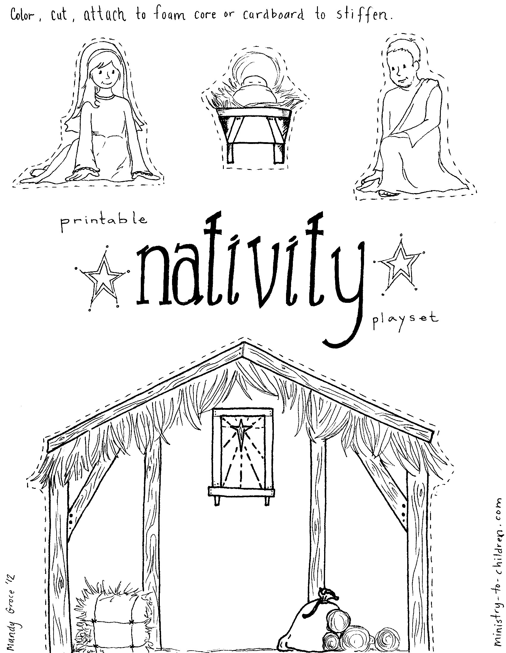 1700x2191 Nativity Scene Coloring Page Preschoolers Nativity Coloring
