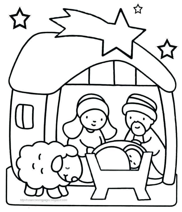 732x853 Nativity Scene Coloring Pages Also Nativity Coloring Nativity