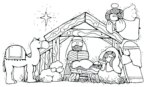 600x366 Free Nativity Coloring Pages Precious Moments Nativity Coloring