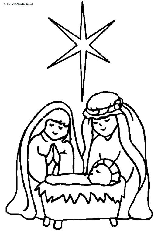 520x788 Nativity Scene Coloring Page