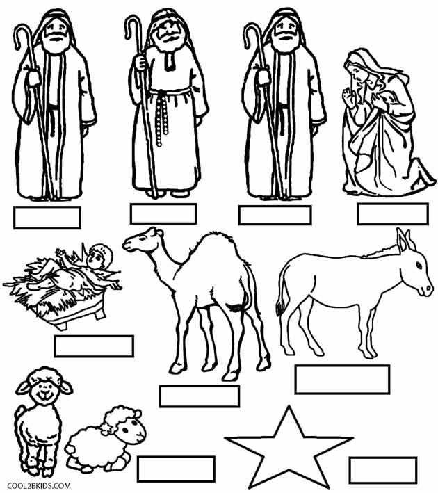 630x709 Nativity Scene Coloring Page For Preschoolers