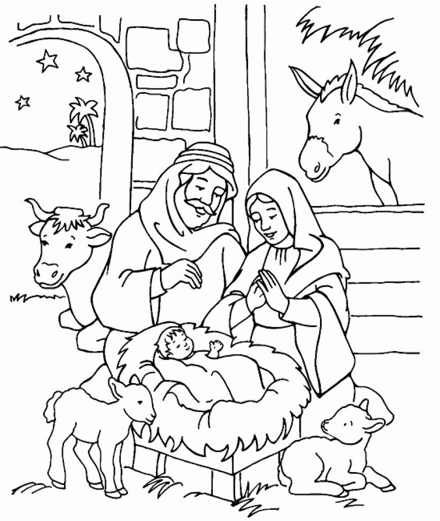866x1024 Nativity Scene Coloring Book Scott Fay Nativity Scene