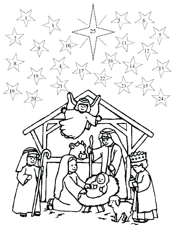 600x755 Coloring Page Nativity Nativity Scene Coloring Pages Advent