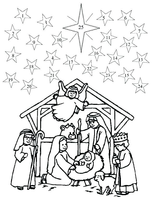 600x755 Nativity Scene Coloring Page Medium Size Of Nativity Scene
