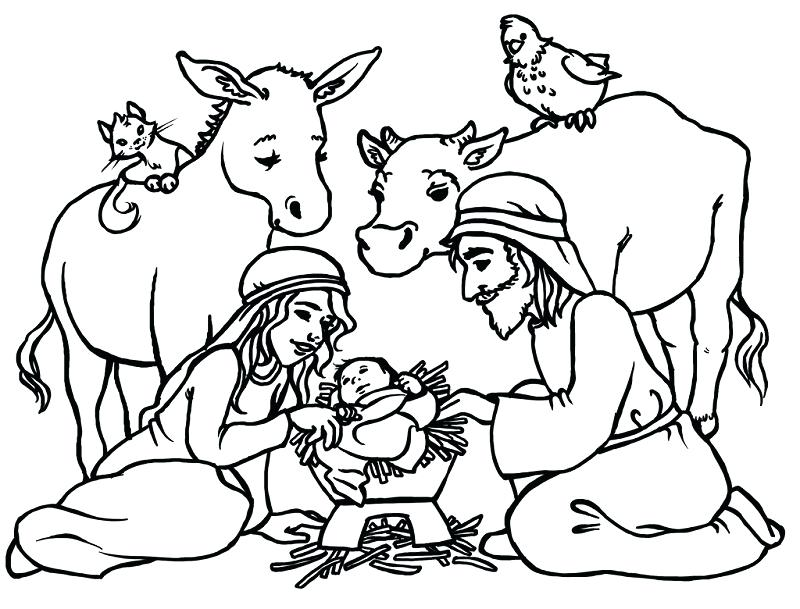 800x609 Nativity Scene Coloring Pages Nativity Scene Coloring Pages Free
