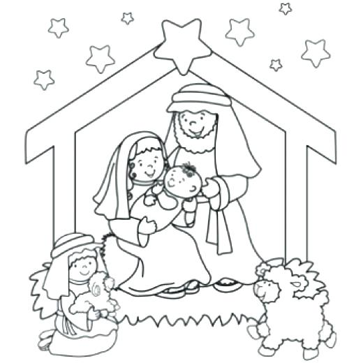 520x520 Nativity Scene Coloring Pages Preschoolers Manger Coloring Pages