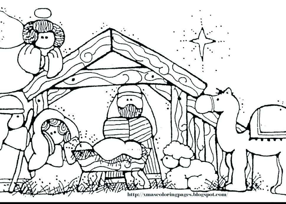 970x693 Manger Scene Coloring Pages