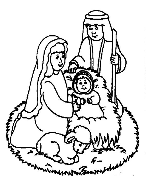 600x719 Jesus Lay In A Manger Bible Christmas Story Coloring Pages Best