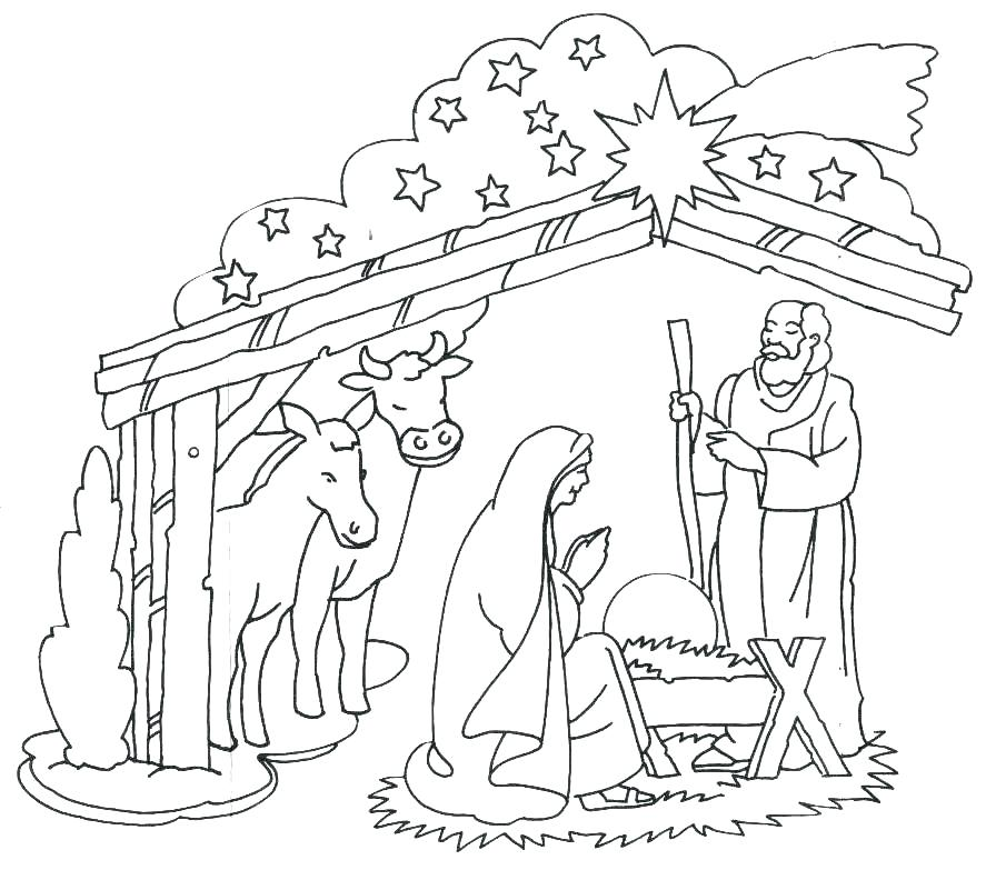 896x783 Nativity Coloring Pages Printable