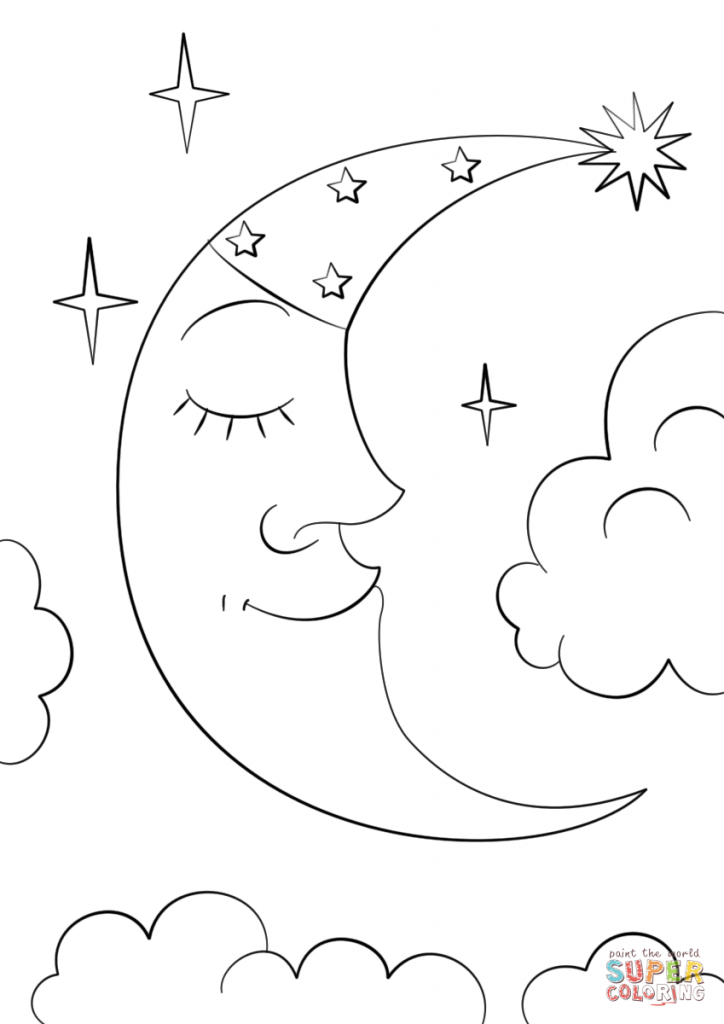 724x1024 Cartoon Crescent Moon Nature Coloring Page