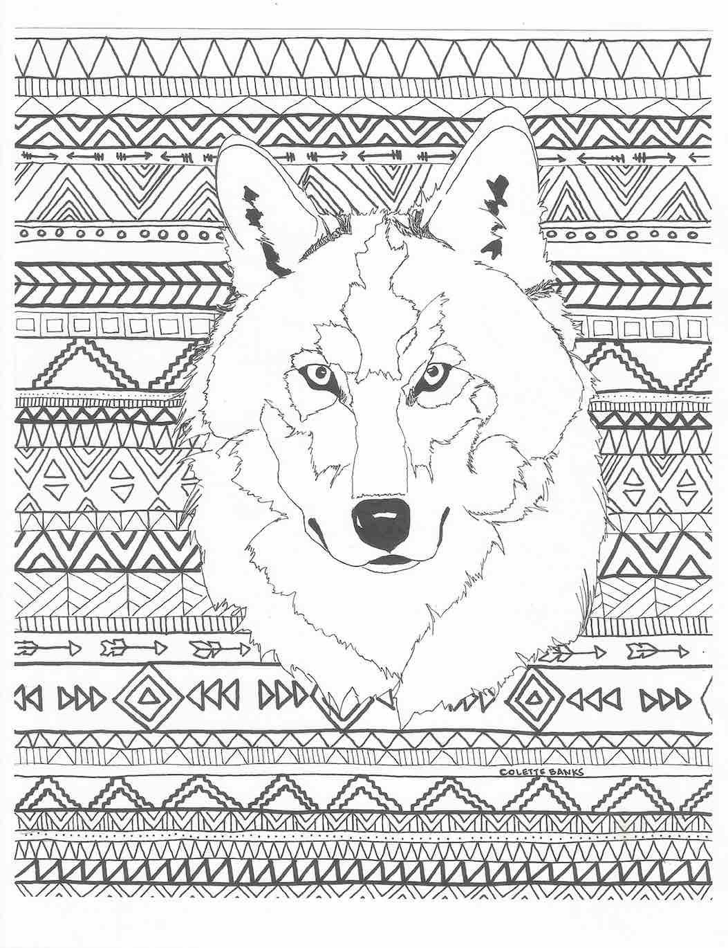 1053x1370 Aztec Adult Printable Coloring Page Of A Navajo And Native