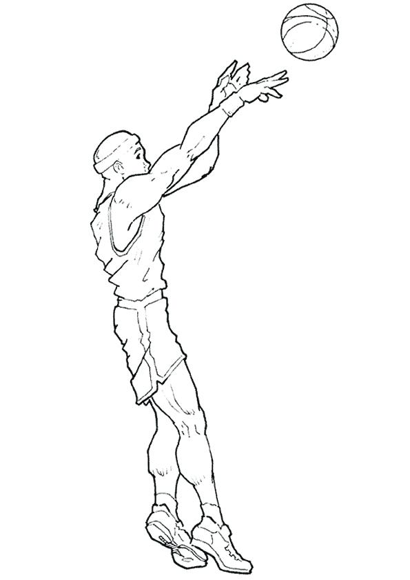 595x841 Coloring Pages Nba Coloring Pages Shooting A Nba Basketball