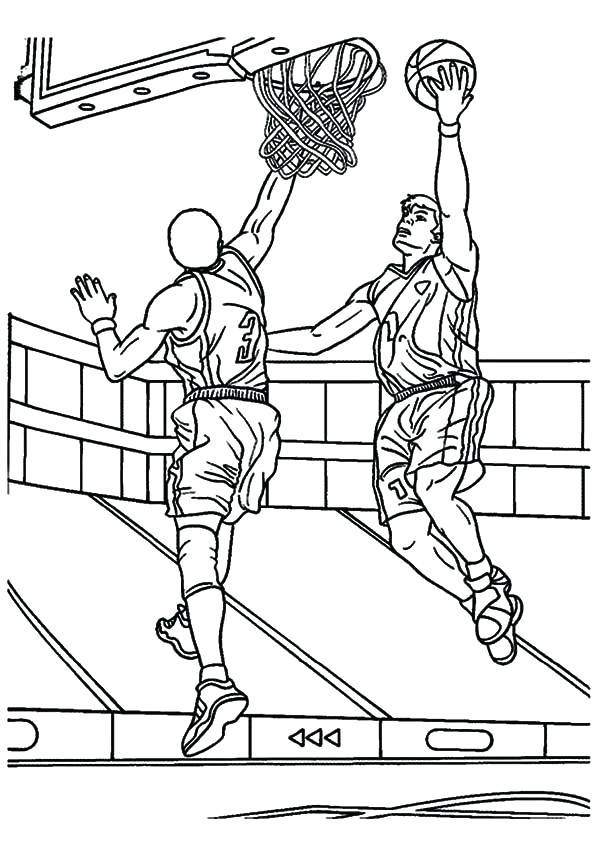595x842 Coloring Pages Nba Coloring Pages Slam Dunk Block Free Printable