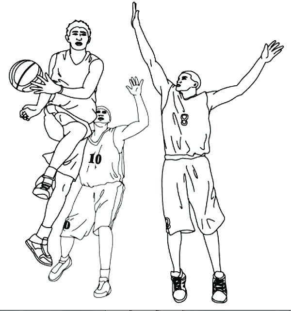 600x642 Nba Players Coloring Pages Basketball Player Coloring Page Pic