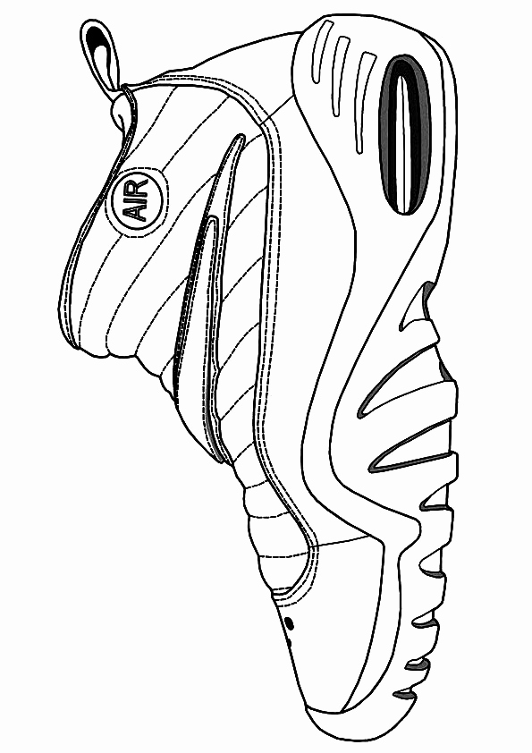 595x842 Printable Apple Kids Coloring Nba Shoes Coloring Pages