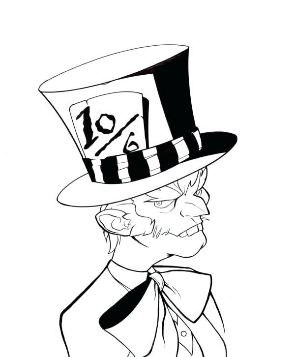 600x726 Bow Tie Colouring Page Kids Coloring Mad Hatter With Bow Tie