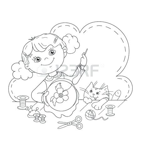 450x450 Scissor Coloring Pages Coloring Page Outline Of Cartoon Girl