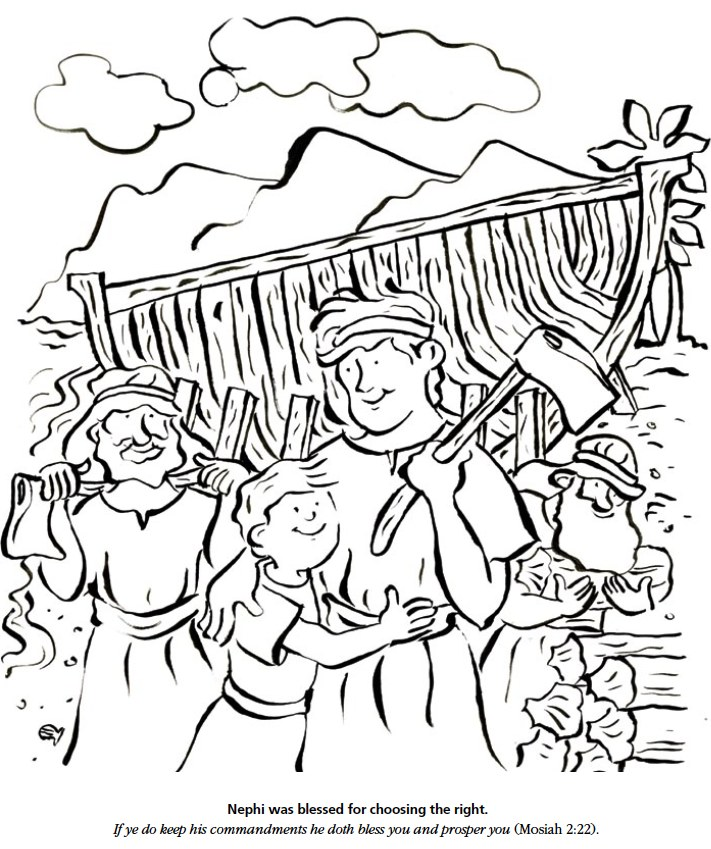 711x849 Nephi Builds A Ship Coloring Page