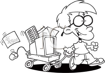 350x246 Coloring Page Of A Little Nerd Boy With His Computer In A Wagon
