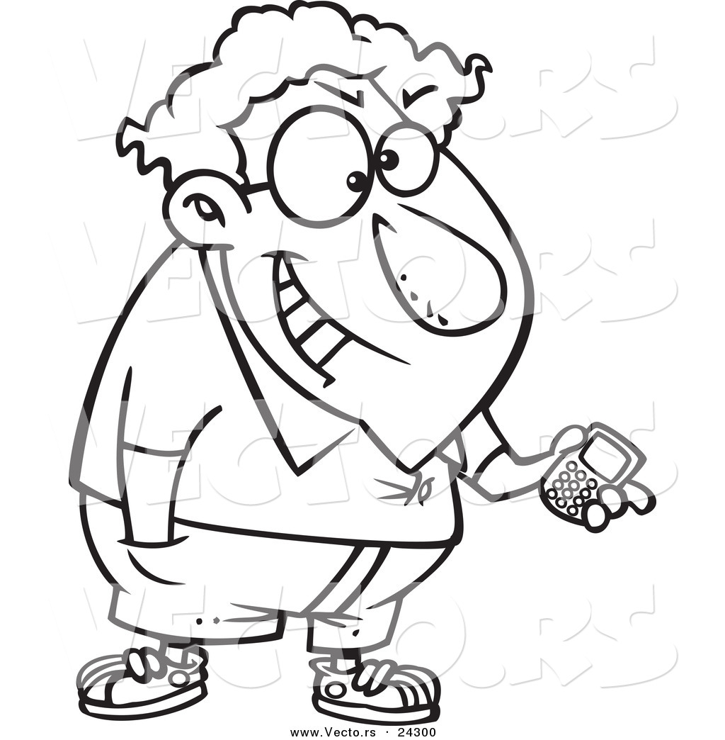 1024x1044 Vector Of A Cartoon Devious Nerd With A Gadget Black And White