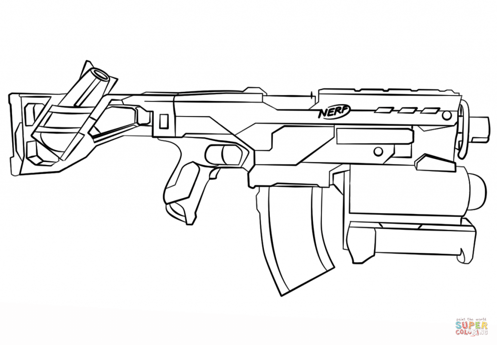 1024x711 Nerf Gun Coloring Pages