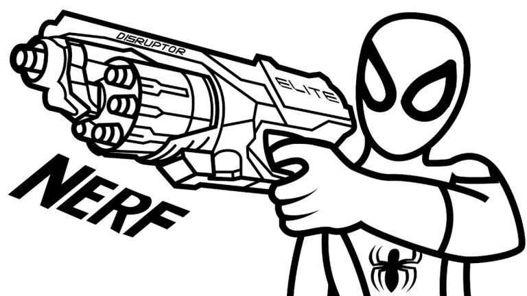 768x432 Nerf Gun Coloring Page To Print Nerf Coloring Pages