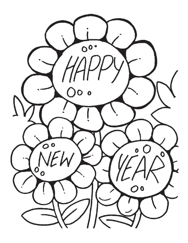 612x792 Happy New Year Coloring Pages