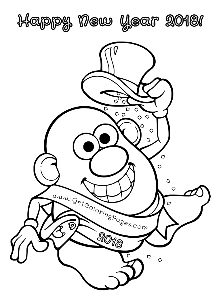 768x1024 Printable New Year Coloring Pages